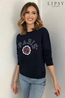 Lipsy Navy Paris Sweatshirt