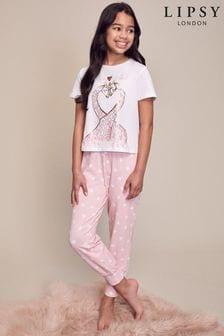 Lipsy White Giraffe Short Sleeve Long Leg Pyjama Set
