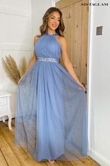 Sistaglam Blue Sequin Waist Halterneck Maxi Dress