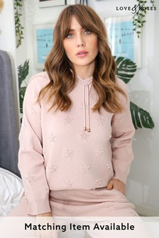 Love & Roses Blush Star Embossed Knitted Hoodie
