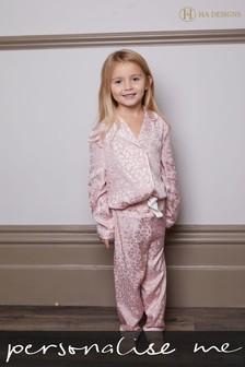 Personalised HA Mini Children's Satin Long Sleeve Pyjama Set by HA Design