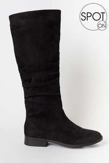 Spot On Black Knee High Ruched Boot