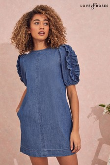Love & Roses Blue Denim Ruffle Sleeve Mini Dress