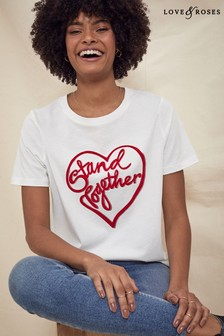 Love & Roses White and Pink Printed T-Shirt