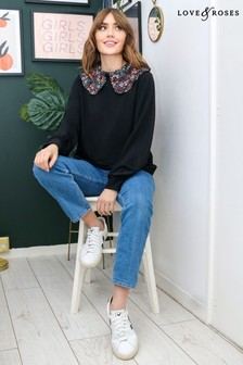Love & Roses Black Contrast Collared Sweatshirt