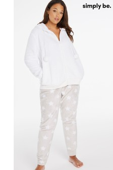 Simply Be Cream Pretty Secrets Borg Hoodie Set