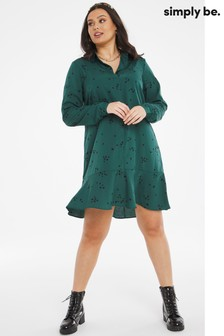 Simply Be Green Drop Hem Button Through Shirt Dress