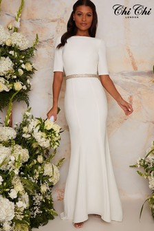 Chi Chi London White Bridal Demi Dress