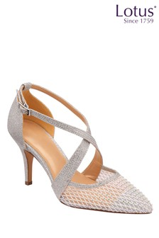 Lotus Footwear Silver Occasion Cross Strap Closed Court Heel