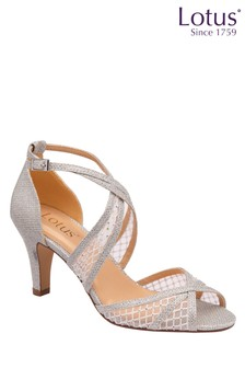 Lotus Footwear Silver Occasion Cross Strap Open Toe Sandal