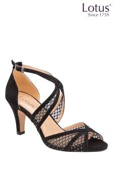 Lotus Footwear Black Occasion Cross Strap Peeptoe Sandal