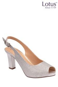 Lotus Footwear Silver Occasion Sling Back Sandal
