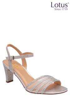 Lotus Footwear Silver Occasion Mesh/Diamante Detail Sandal