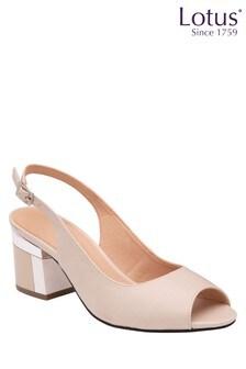Lotus Footwear Nude Peep Toe and Sling Back Sandal