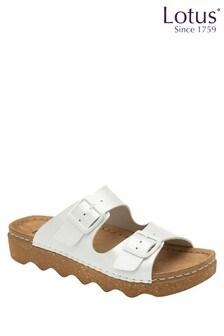 Lotus Footwear White Leather Footbed Sandal