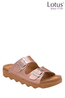 Lotus Footwear Pink Leather Footbed Sandal