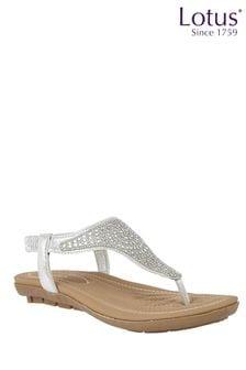 Lotus Footwear Silver DIAMANTE TRIM TOEPOST