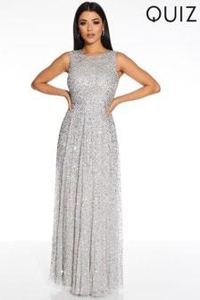 Quiz Grey Sequin Embellished Maxi Dress