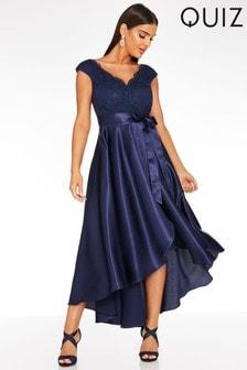 Quiz Navy Lace Bardot Dip Hem Dress