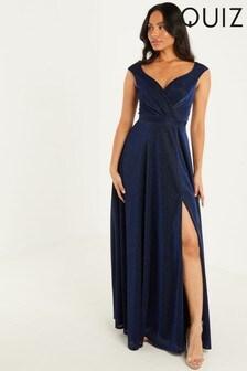 Quiz Navy Glitter Wrap Front Split Maxi Dress