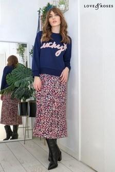 Love & Roses Nude Printed Jersey Midi Skirt
