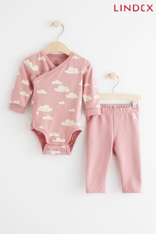 Lindex Baby Pink Wrap-Over Bodysuit with Leggings Set