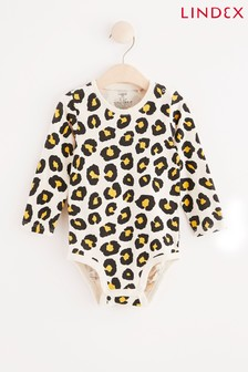 Lindex White Leopard Baby Long Sleeved Bodysuit