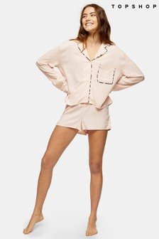 Topshop Pink Kourtney Zebra Short PJ Short