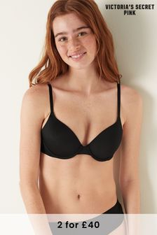 Victoria's Secret PINK Black Wear Everywhere Lightly Lined T-Shirt Bra