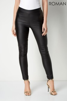 Roman Black Originals Faux Leather Pull On Trousers