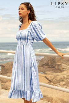 Lipsy Blue Regular Square Neck Shirred Midi Dress