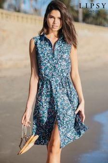 Lipsy Floral Tie Waist Printed Shirt Dress