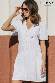 Lipsy White Collared Broderie Smock Dress