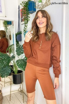 Girls On Film Brown Lounge Sweatshirt And Shorts Co Ord Set