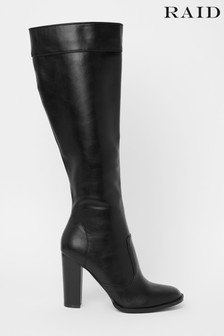 Raid Black Block Heel High Leg Boots