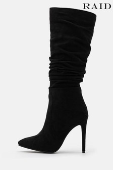 Raid Black Ruched Stiletto Heeled High Leg Boot