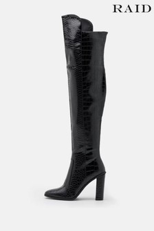 Raid Black Knee High Pu Boot