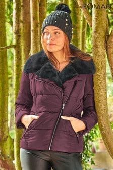 Roman Burgundy Originals Faux Fur Collar Padded Biker Coat