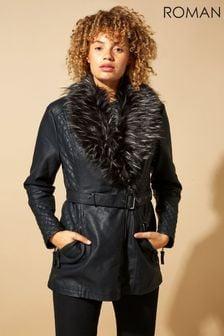 Roman Black Originals Longline Faux Leather Belted Coat