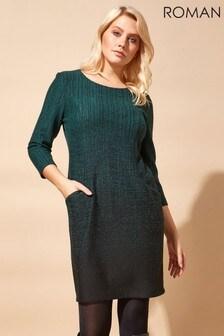 Roman Green Originals Ombre Textured Shift Dress