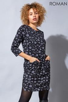 Roman Grey Originals Spot Circle Print Jersey Tunic Dress