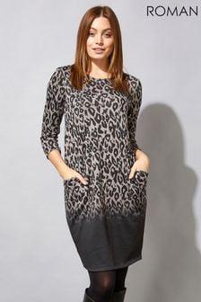 Roman Grey Animal Print Long Sleeve Ombre Cocoon Dress