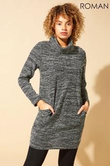 Roman Grey Long Sleeve Cowl Neck Tunic Dress
