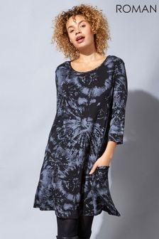 Roman Grey Tie Dye Print Swing Pocket Dress