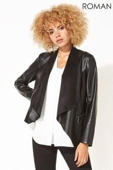 Roman Black Originals Faux Leather Suedette Waterfall Jacket