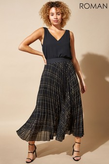 Roman Black Originals Check Print Pleated Maxi Skirt
