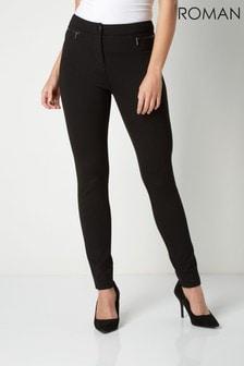Roman Black Originals Zip Detail Ponte Trousers