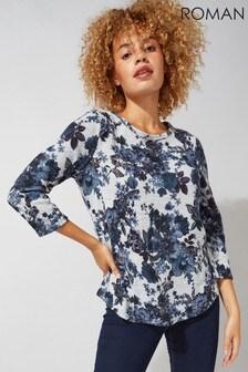 Roman Blue Originals Floral Print Jersey Tunic Top