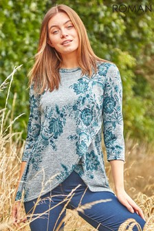 Roman Green Originals Wooly Touch Floral Print Tunic Top