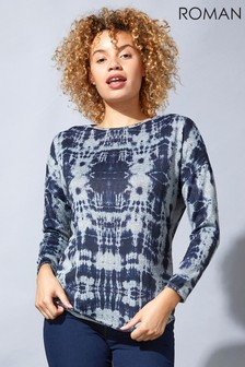 Roman Blue Originals Tie Dye Print Jersey Tunic Top